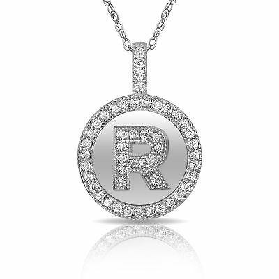 """14K Solid White Gold Round Circle Initial /""""R/"""" Letter Charm Pendant /& Necklace"""