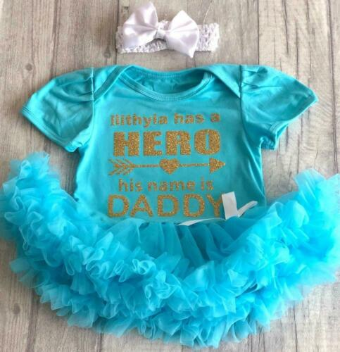 Father/'s Day Gold Glitter Name has a Hero Daddy PERSONALISED DADDY TUTU ROMPER
