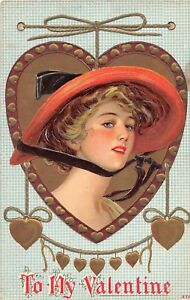 E5-Valentine-039-s-Day-Love-Holiday-Postcard-c1910-Woman-Large-Hat-Gold-1