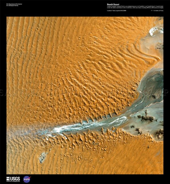 Namib Desert On Africa Map.Science Map Satellite Namib Desert Sand Dune Africa Replica Poster