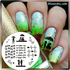 Love Theme Cute Birds Nail Art Stamping Templates Image Plate Born
