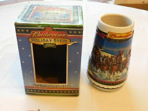 2002-Guiding-the-Way-Home-Budweiser-Christmas-Beer-Stein-Clydesdale-CS529-w-Box
