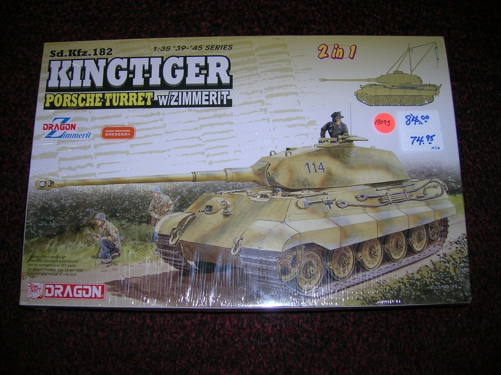 DRAGON   SD.KFZ.182 KING TIGER TANK    1 35  list   84.00  lot