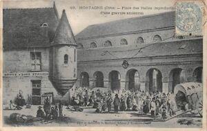 MORTAGNE-Lugar-de-la-Halles-Reproduccion-de-una-grabado-antigua