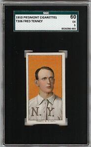 Rare 1909-11 T206 Fred Tenney Piedmont 350 New York SGC 60 / 5 EX