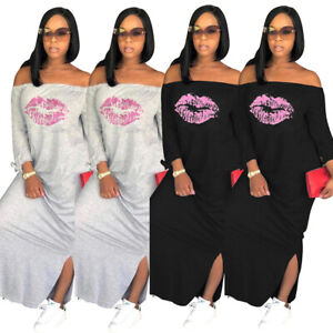 Plus-size-Sexy-Club-Dress-Women-ladies-Casual-maxi-t-shirt-Party-Long-Dresses