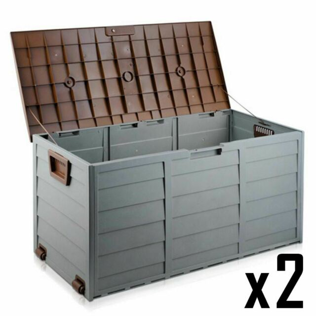 2 x 290L Plastic Outdoor Storage Box Container Weatherproof Grey with Brown Lid