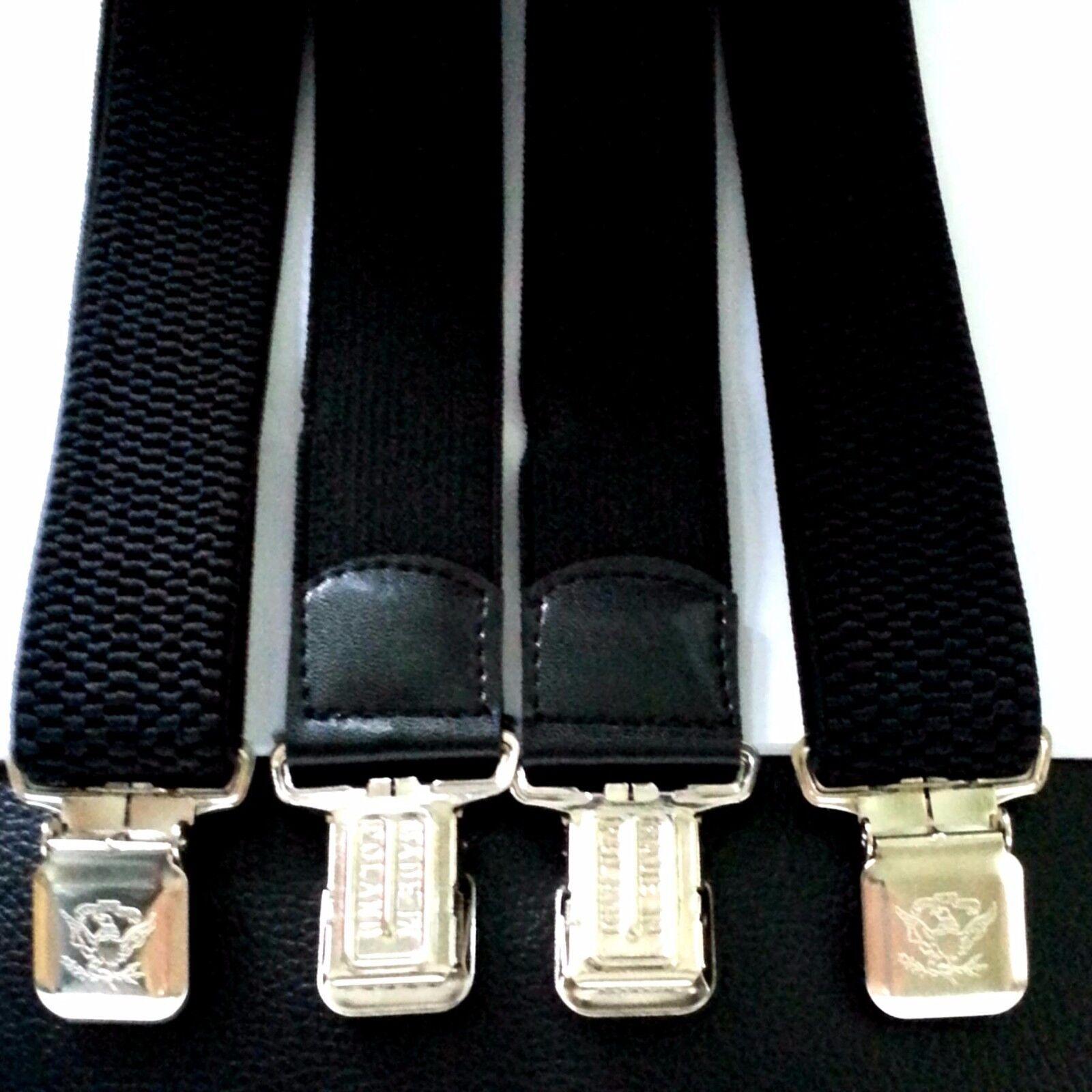 Damen Herren Hosenträger Hose Gürtel Schwarz 4 starke Clips Träger H-Form breit