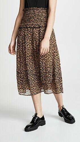 Sea NY Lottie Smocked Midi Skirt in Leopard Size 4