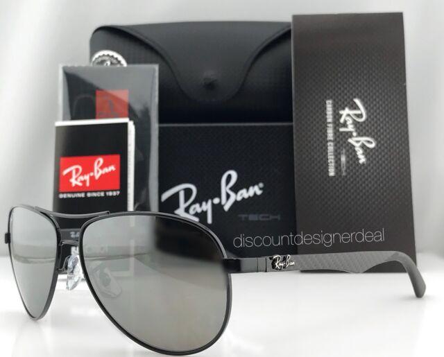 ba29bd459dd Ray-Ban Aviator Carbon Polarized Sunglasses RB8313 002 K7 Black Gray Mirror  61mm