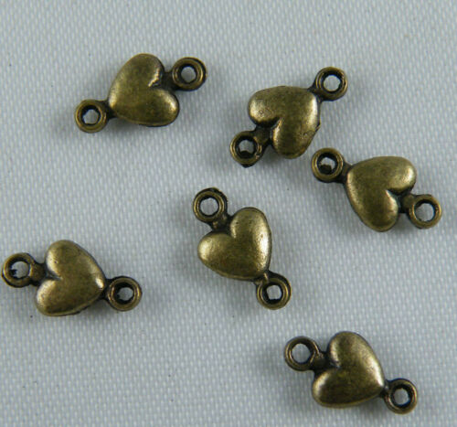 400 Silver//Bronze Tone Heart 1-to-1 Connectors 10x5.5mm ZN6294