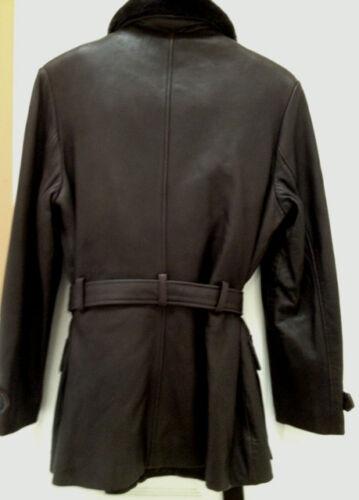 Veste couleur amovible et cuir avec petit marron fourrure en doublure aq1Barw