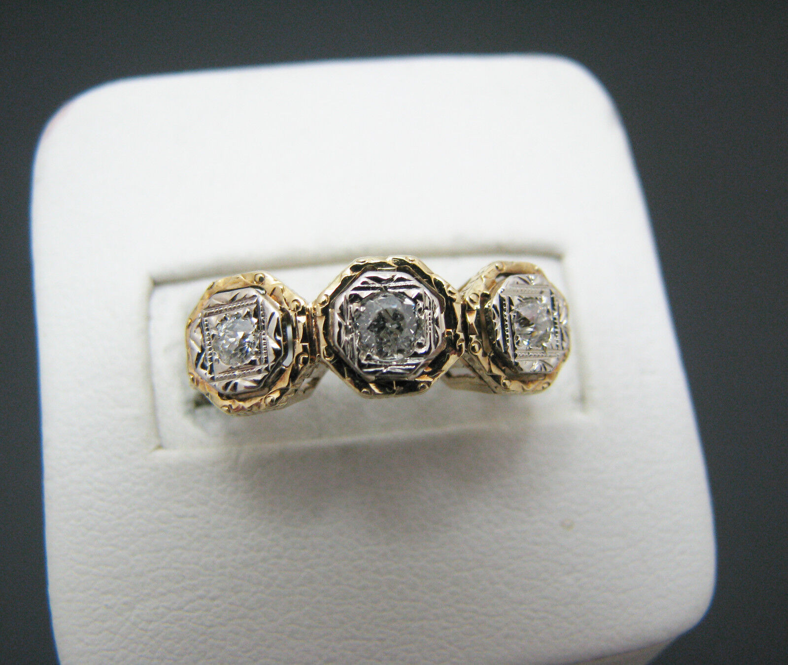 A855 Stunning Vintage (3) Diamond Ring in 14k Yellow gold Mounting