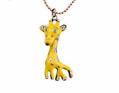 Interesting yellow oil spot crystal giraffe charm necklace