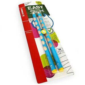 2-x-STABILO-Easygraph-Handwriting-Pencils-HB-Left-Handed-Light-Blue-Barrel