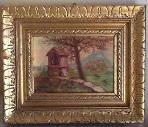 Tableau-Ancien-Paysage-Post-Impressionniste-Provence-La-Garde-Var-Huile-signee