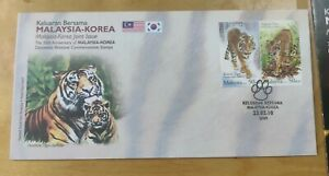 Malaysia Korea 2010 Joint Issue Tiger Harimau Stamp FDC special chop