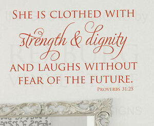 She Is Clothed With Strength Proverbs 31 25 Bible Wall Decal Vinyl