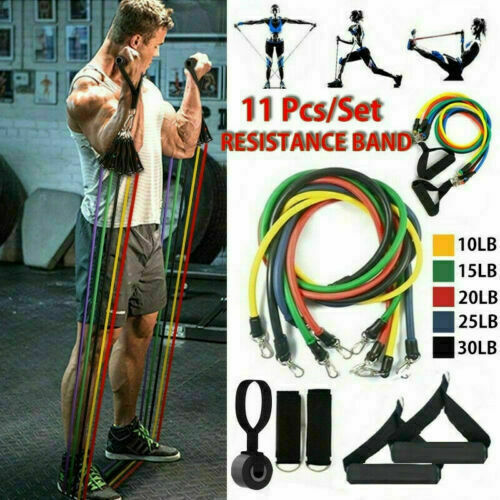 11pcs Resistance Bands Set w//Exercise Door Anchor 5 Stackable Bands for Workout