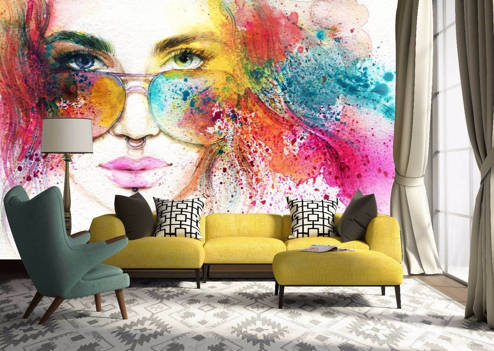 3D Girl Paint 418 Wallpaper Murals Wall Print Wallpaper Mural AJ WALL AU Lemon