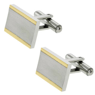 Classic Silver Tone Stainless Steel Cufflinks For Men 13X17mm
