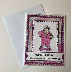 Birthday-Card-Funny-Queen-for-the-Day-Pink-Handmade-Stamped-w-envelopes
