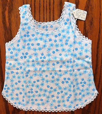 Girls vintage slip Age 2 UNUSED vintage 1970s petticoat blue terylene cotton