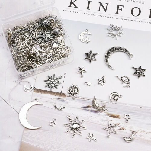 100pcs//Set Antique Silver Tibetan Star /& Moon /& Sun Pendant DIY Jewelry Charms