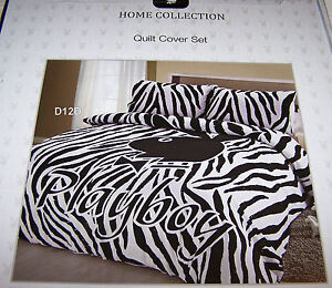 Playboy-Bunny-Logo-Black-White-Zebra-Printed-Queen-Bed-Quilt-Cover-Set-New