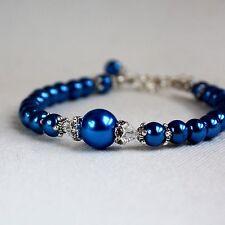 Dark blue vintage pearls crystals beaded bracelet party wedding bridesmaid gift
