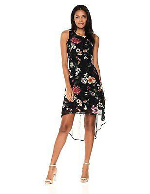 Karen Kane New Black White Illusion Floral Hi Lo Sleeveless Dress Sizes S /& M