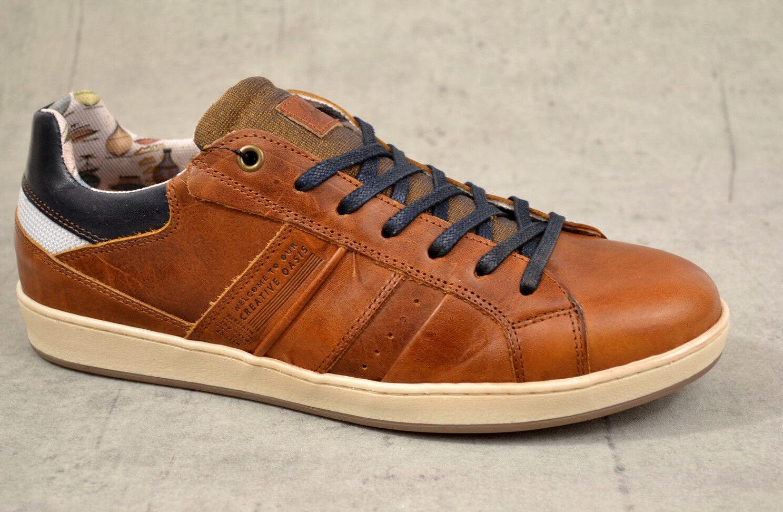 BULLBOXER Turnschuhe Herren Schuhe Retro Sneaker Turnschuhe BULLBOXER Skaterschuhe braun Leder Neu 2c75f7