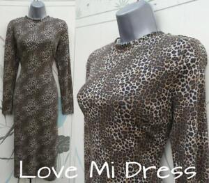 M-amp-S-50-039-s-style-Leopard-Print-Pencil-Wiggle-Dress-12-EU40