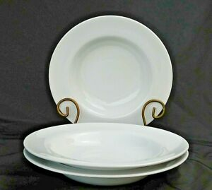 """(3) Pottery Barn GREAT WHITE Large Rimmed Soup Pasta Bowl 10.25"""" Nearly New"""
