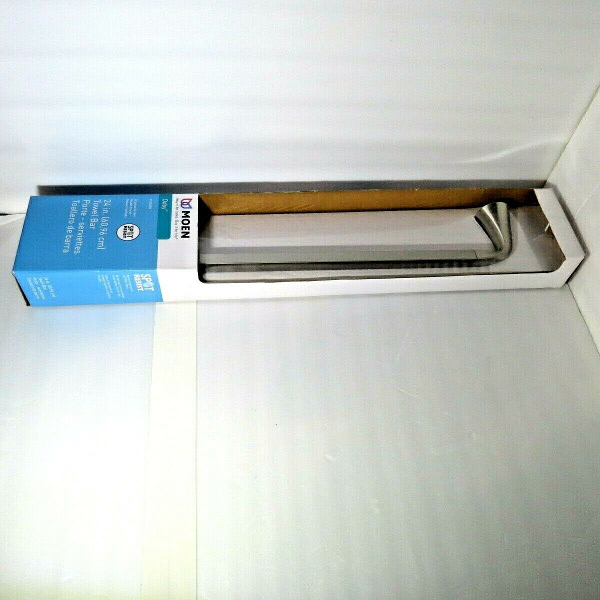 Moen Y1224BN 24 in Oxby Brushed Nickel Spot Resist Towel Bar New Sealed Package