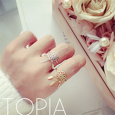 Women Charming Dreamcatcher Ring Fashionable Feather Tassel Ring Jewelry