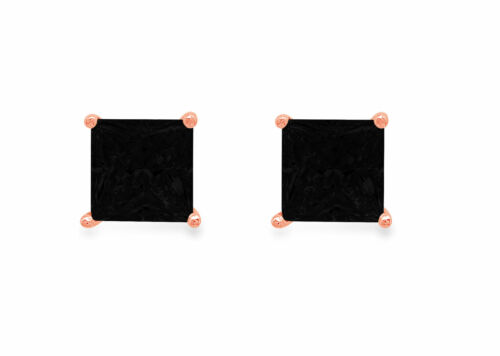 Details about  /1.5 Princess Cut Classic Studs Natural Onyx 18k Pink Gold Earrings Push back
