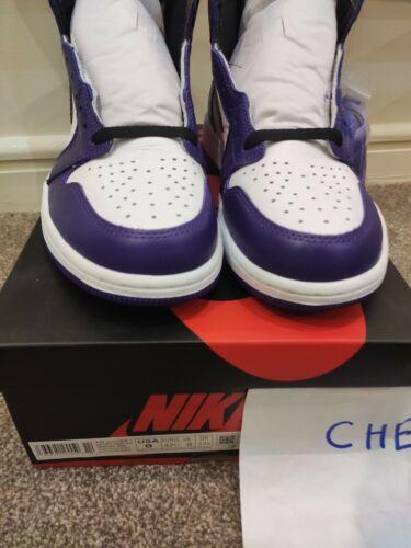 Jordan 1 Retro Alta Court Púrpura Blanco UK8/US9/EU42.5 100% Auténticas Sin usar