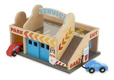 Car Wash Toy Service Station Parking Garage With 2 Wooden Cars Melissa & Doug