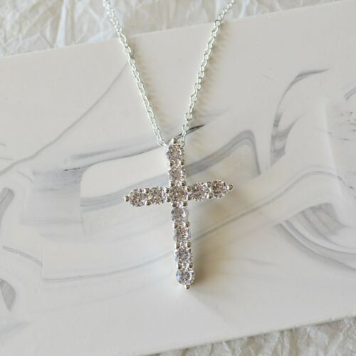 S925 Plated Sterling Silver Rhinestone Zirconia Crystal Crucifix Cross Necklace