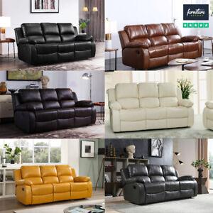 Valencia Sofa Suite Set - Leather Recliner 3+2+1 Sofas Black Brown Cream LAZYBOY