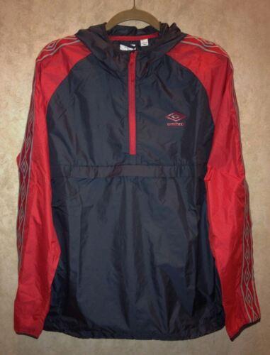 UMBRO Soccer Taped Grey 1//4 Zip Pullover Hooded Jacket Windbreaker NEW Mens L