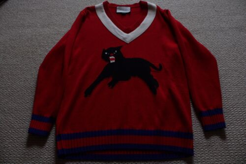 GUCCI PANTHER SWEATER RED BLUE & WHITE SIZE LARGE