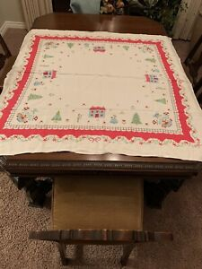 Vintage Pastel Gingerbread House Christmas Tablecloth Ebay