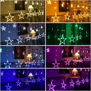 Led Weihnachtsdeko Fenster.Led Lichterkette Stern Vorhang Fenster Baum Weihnachtsdeko Flash