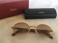 CARTIER SUNGLASSES FOR MEN OVAL VINTAGE WITH WOOD FRAME USED REPAIRED