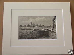 LECHLADE-ANTIQUE-MOUNTED-ENGRAVING-c1890-VERY-RARE-10X8