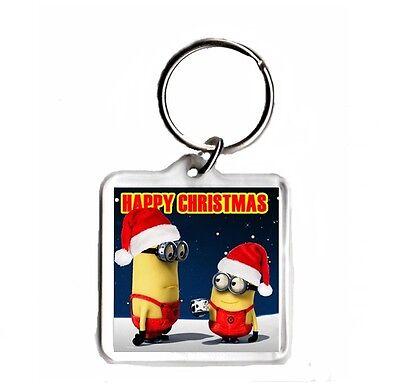 Despicable Me 2 Minions Christmas Square Keyring
