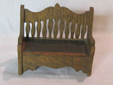 Antique vintage dollhouse settee, sofa or bench, probably German