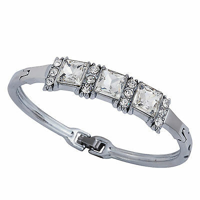 Silver Plated Alloy Crystal/Rhinestone Bracelet Bangle Lady Prom Gift